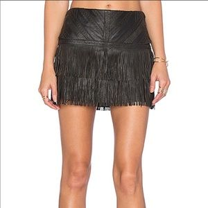 NEW Parker Killington Black Leather Fringe Skirt 4